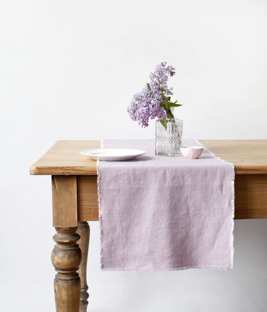 vintage tischl ufer mit fransen rosa natur leinen der vertrauensw rdige onlineshop f r. Black Bedroom Furniture Sets. Home Design Ideas
